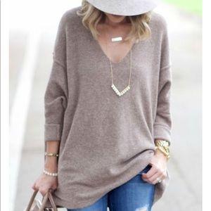 Oversized dolman sleeve oatmeal sweater